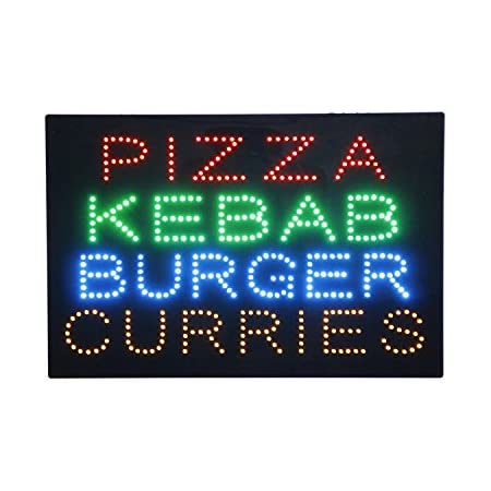 Kebab Shop Open Sign for Business Super Bright Electric Advertising Display Board for Restaurant Store Shop Window Decor 16 x 16