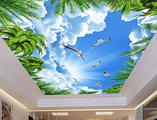 ShAH 3D-Decken-Wandtapete, Kokosbaum, blauer Himmel, 3D-Decken-Wandtapete, Heimdekoration, Wohnzimmer, 3D-Himmel-Decke, 300 x 210 cm