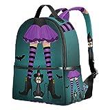 Emoya Mochila Escolar Primaria para Halloween, Zapatos de Bruja, Gato Negro, Mochila Escolar para niñas y niños