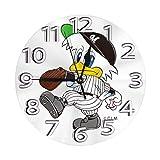 フレームなしの円形の壁時計千葉ロッテマリーンズ マスコットミュート掛け時計屋内壁の装飾デスクトップジュエリークリエイティブクロック直径25cm