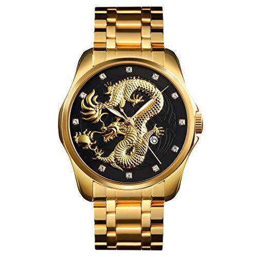 FeiWen Herren Fashion Analog Quarz Casual Uhren Edelstahl Datum Drache Muster Armbanduhr (Schwarz)