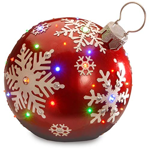 National Tree Company lit Artificial Christmas Décor | Pre-Strung with LED Lights | Red Ball Ornament-18 Inch, 18 Inch