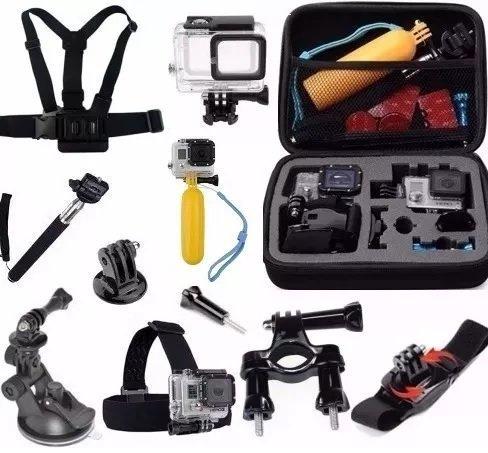 Acessórios para GoPro Hero 5 Hero 6 Hero 7 Black Kit Caixa Estanque Mala Média Caixa Guidao Pulso 360 Flutuador Ventosa Cinta Peito Cabeça Pau de Selfie Adaptador J (11 itens)