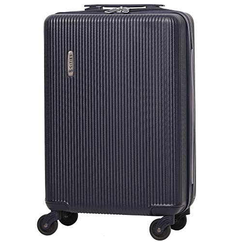 5 Cities Lightweight ABS Hard Shell Carry On Cabin Hand Luggage Suitcase with 4 Wheels, Approved for Ryanair, easyJet, British Airways, Virgin Atlantic and More, (Navy)