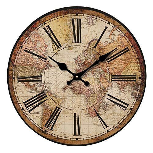 HUABEI 30 cm Orologio da Parete di Legno Silenzioso Stile Vintage Decorazione a Muro