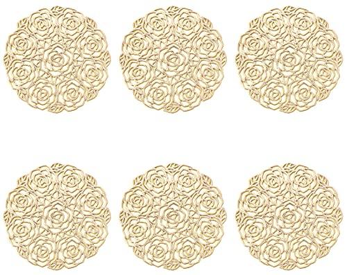 ASFINS Set di 6 Sottobicchieri, Sottobicchieri Dorati Sottobicchieri Vinile Sottobicchiere Antiscivolo Sottobicchieri Tappetini isolanti in PVC, per Tavolo, Pranzo, Cucina (Oro, Stile L, 10cm)