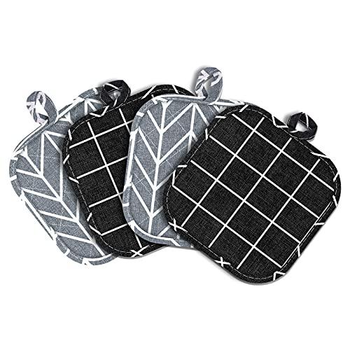 Topflappen SerDa-Run 4 Pcs Ofenhandschuhe Hitzebestaendig, Topfhandschuhe Schwarz & Grau Set für die Küche die Kochen Backen
