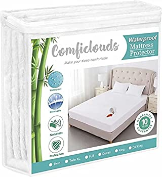 Queen Size Cooling Waterproof Mattress Protector Pad Cover,Bamboo Terry Top Breathable Fitted Sheet Style Deep Pocket-Noiseless,Vinyl,PVC Free,Matressprotector Queen for Pets Kids Adults