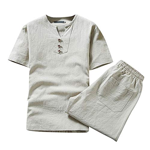 Herren Trainingsanzug Leinenhemd + Leinenhose Jogginganzug Sportanzug Freizeitanzug Hausanzug Sommer Freizeit Baumwolle Leinen Kurzarm T-Shirt Hose Set 3XL