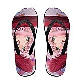 Anime para Darl en el Franxx Zero dos zapatillas sandalias de playa zapatillas para mujeres hombres diario interior actividades al aire libre, color Negro, talla Medium/Large