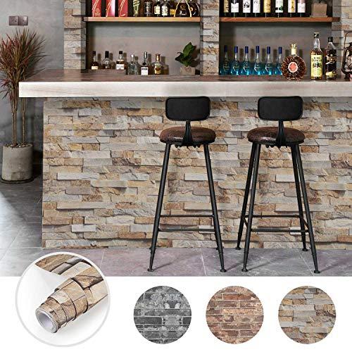 Steintapete 3D Optik selbstklebende Tapete Wandaufkleber Wandtapete Ziegelstein Backstein 0.61 * 5M für Wohnzimmer, Schlafzimmer Flur (Farbe C)