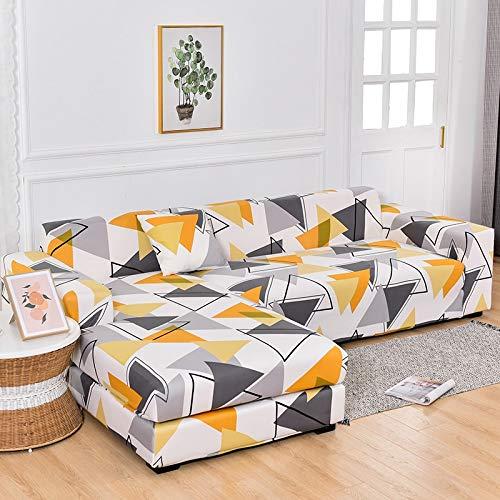Fundas de sofá Chaise Longue Impresas en Forma de L para Sala de Estar Protector de sofá Fundas elásticas Antipolvo para sofá de Esquina A28 2 plazas