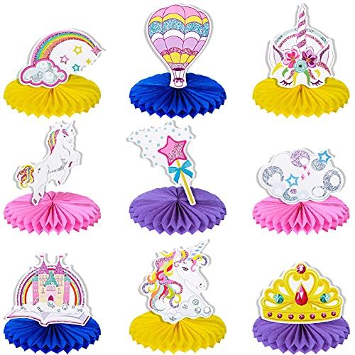 Tacobear 9 piezas Unicornio Centros de Mesa Forma de Panal 3D Honeycomb Panal Decoraciones de mesa Unicornio Arcoíris Topper de Mesa de Papel para Unicornio de Fiesta Artículos Cumpleaños Decoración ✅