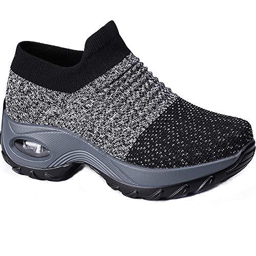 Zapatilla de Deporte Mujer Zapatos para Mujer Cuña Cómodos Mocasines Plataforma Zapatillas Sneaker Calzado Deportivo de Exterio Gris Negro