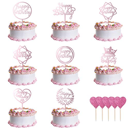 URAQT Happy Birthday Tortendeko Geburtstag, 8 pcs Geburtstag Cupcake Topper mit 5 pcs Herzen Kuchen Topper, Party Kuchen Dekoration für Mädchen Junge Kinder, Roségold