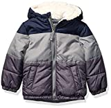OshKosh B'Gosh Boys' Little Heavyweight Winter Jacket with Sherpa Lining, Navy Color Block Trio, 4