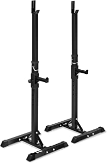 Dolphin Shop Rack Bar Weight Adjustable Heavy Olympic Barbell Storage Squat Bars Plate Lifting Holder Stand Adjustable Bumper Station Stable Strength Color Black Material Metal Load 330 Lbs 1 Pair