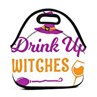 Drink Up Witches Funny Halloween Wine 保温再利用可能おポータブル弁当箱ランチトートバッグ食事袋子供大人ユニセックス
