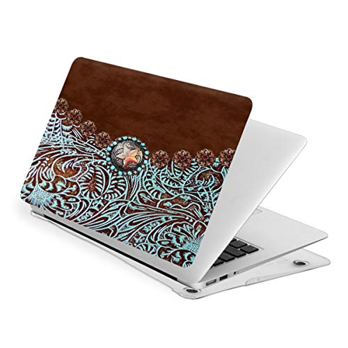 Western Turquoise Tooled Leather Rustic Star Laptop Protective Case for MacBook Laptop Computer Hard Shell Cover (New Air13/ Air13/ Pro13/ Pro15)