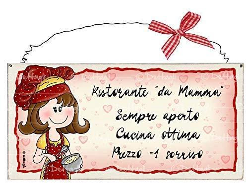 Targrghetta Artigianale In Legno Con Ferretto Ristorante Da Mamma Sempre Aperto Ottima Cucina Prezzo 1 Sorriso Amazon It Handmade