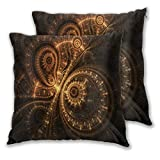 BROWCIN Throw Pillow Covers Set of 2 Abstract Design Of Steampunk Watch, Digital Fractal Artwork Pillowcase for Living Room Bedroom Sofa Couch Decorative Cushion Cover without Pillow 45cm x 45cm