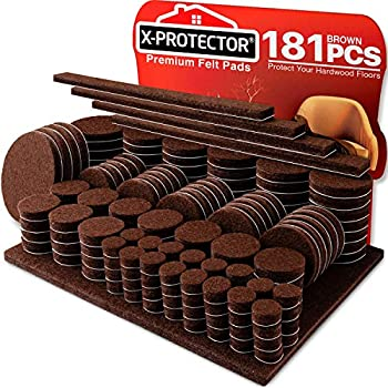Felt Furniture Pads X-PROTECTOR 181 Pack - Premium Felt Pads Furniture Feet All Sizes – Your Best Wood Floor Protectors - Protect Your Hardwood Flooring with 100% Satisfaction!