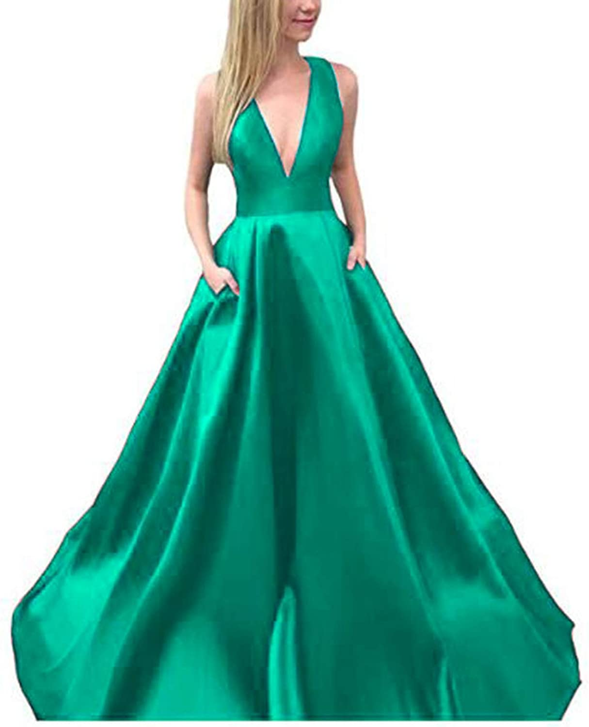 Alilith.Z Sexy V Neck Satin Prom Dresses A Line Party Gowns Long Formal Dresses for Women Evening with Pockets