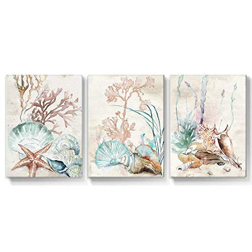 takfot Framed Wall Art Ocean Canvas Paintings Coastal Shell Starfish Coral Conch Picture Watercolor Art Home Decor Prints Modern Artwork for Bathroom Kitchen Office Living Room 12x16 Inch, 3 panels
