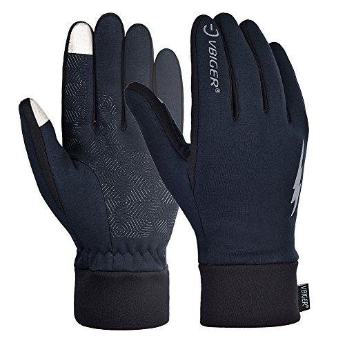 VBIGER Handschuhe Herren Touchscreen Winterhandschuhe Damen Warme Fahrradhandschuhe Laufhandschuhe für Männer, Winddicht & Rutschfest,Schwarz (L)