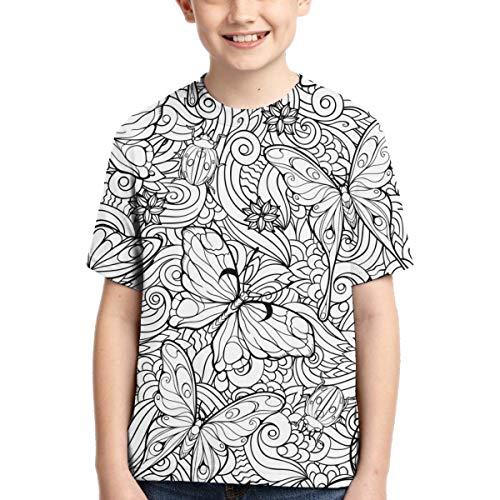 Malvorlagen mit nahtlosen Muster von Blumen und Schmetterlingen Jungen T-Shirt Kurzarm Classic Funny Tee S