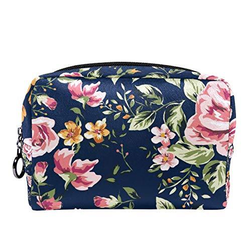 Bolsa de cosméticos Bolsa de Maquillaje para Mujer para Viajar Llevar cosméticos Cambiar Llaves, etc.,Patrón de Flores Vintage sobre Fondo Azul Marino