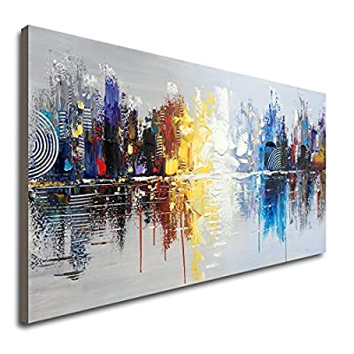 Hand Painted Cityscape Modern Oil Painting on Canvas Reflection Abstract Wall Art Decor from Winpeak Art