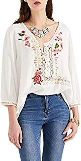 AK Women's Boho Embroidered Tops 3/4 Sleeve Mexican Peasant Shirts Bohemian Loose Tunic Blouses
