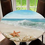 AmaUncle Elastic Edged Table Cover, Round Tables Tablecloth Table Cloth, Splashing Waves On The Beach Waterproof Table Pads Tablecloth Size 48