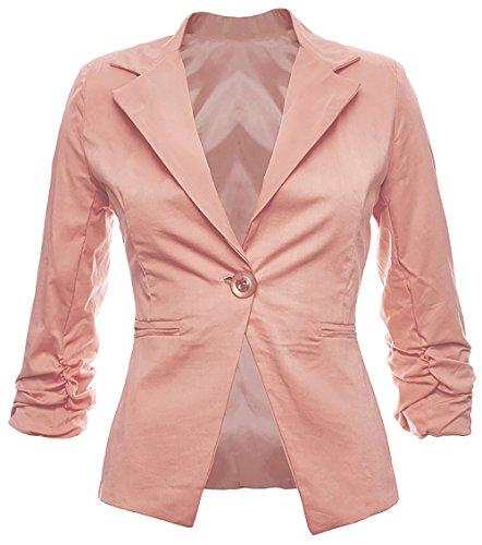 Sambosa Eleganter Damenblazer Blazer Baumwolle Jäckchen Business Freizeit Party Jacke in 26 Farben 34 36 38 40 42, Farbe:Rosa;Größe:S-36