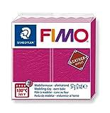 Staedtler FIMO Leather, Pâte à modeler fruit rouge à effet cuir durcissant au four, Pour débutants et artistes, Pain de 57 grammes, 8010-229 ST