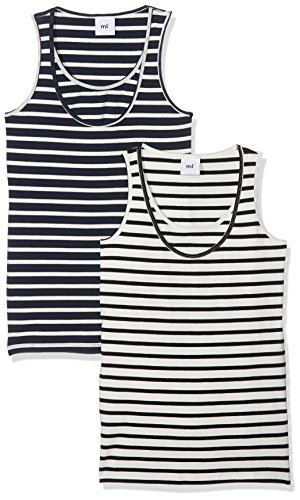 MAMALICIOUS Damen MLLEA ORG Nell Tank TOP NF 2PACK A.O. Umstandstop, Mehrfarbig (Navy Blazer Pack: Yd 1.Navy Blazer/Snow White & 2.Snow White/Black), 42 (Herstellergröße: XL) (2er