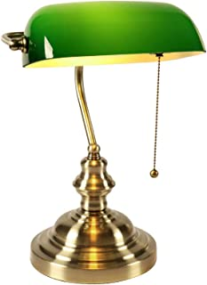 Newrays Lámpara de escritorio de vidrio verde para banqueros con interruptor de cadena de extracción, accesorio enchufable, acabado de latón satinado