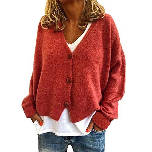 YJNH Chaqueta corta de punto para mujer, de manga larga, elegante chaqueta con cuello en V, botones, para exteriores, invierno K-naranja(a) XL