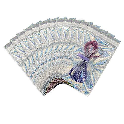 Rimiko 100 Piezas de Bolsa de Resellable de Aluminio Mylar Zip lock Bags, Bolsa Plana con Cierre a Prueba de Olor Holográfico con Patrón de Cuadros para Almacenamiento de Alimentos (16x24cm)