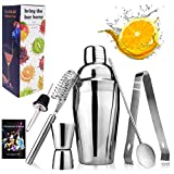 Cocktail Shaker, Cocktail Shaker Set 25oz/750ml Made of 18/8 Grade Stainless Steel 304 with 6 Pieces Cocktail Tools and Professional Recipe for Making Cocktail at Home and Bar