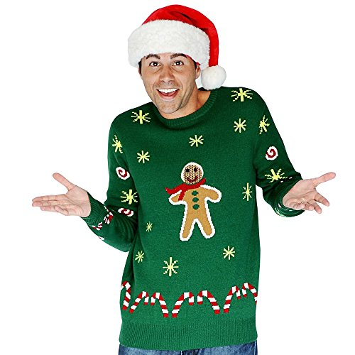 Digital Dudz Gingerbread Snack Digital Christmas Sweater - size Large