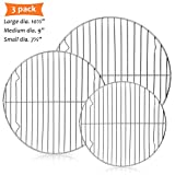 """E-far Round Cooling Cooking Racks - Size 7½"""" & 9"""" & 10½"""" - Stainless Steel Round Steaming Baking Rack Set of 3, Multi-Purpose for Canning Air Fryer Instant Pot Pressure Cooker, Dishwasher Safe"""