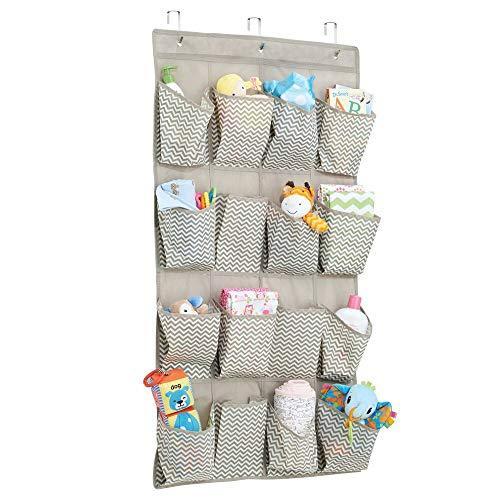 mDesign étagère de rangement à suspendre – parfait comme organiseur de chambre de bébé – le meuble de rangement idéal en tissu, à utilisation multiple – avec 16 sections, couleur : taupe/nature
