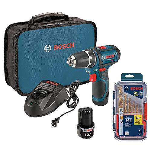 Bosch 12-volt 2-speed drill/driver kit with Titanium Metal Drill Bit Set