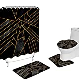VividHome 4 Pcs Geometric Shower Curtain Set with Non-Slip Rug Toilet Lid Cover and Bath Mat Fashion Gold Black Gray Marble Bathroom Curtains Decor Polyester Fabric Waterproof 72x72 Inches