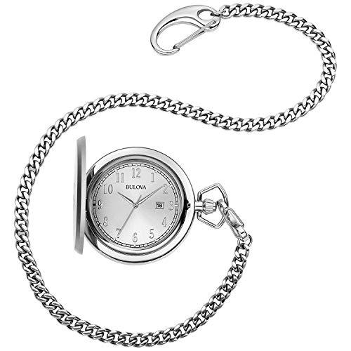 Bulova Classic Quartz Mens Pocket Watch, Stainless Steel Silver-Tone Chain, Silver-Tone (Model: 96B270)
