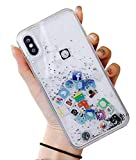 UnnFiko Liquid Glitter Case for iPhone 7, Hard Back Colorful Bling Quicksand with iOS icon Apple APP Shine Phone Case for iPhone 8 (Silver Glitter, 7/8)