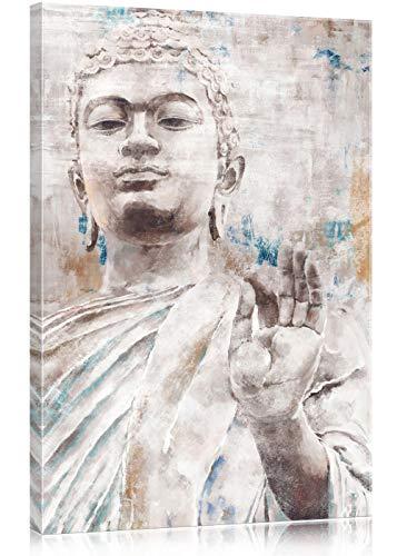 SUMGAR Cuadros en Lienzos de Vintage Buda con Blanco y Gris Rústica Azul Decorativo Pared Pintura Sala de Salón Dormitorios Baño 40x60cm