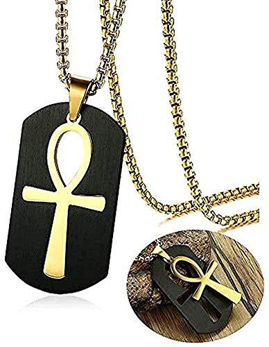 ZJJLWL Co.,ltd Collar Collar Desmontable Cruz Collar Hombres Collar Tono Dorado Acero Inoxidable Recorte Llave de la Vida Egipto Colgante Caja Cadena 24 \